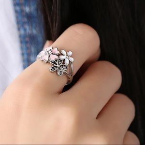 NEW Silver Plated Heart - Floral Enamel Ring Sz 7